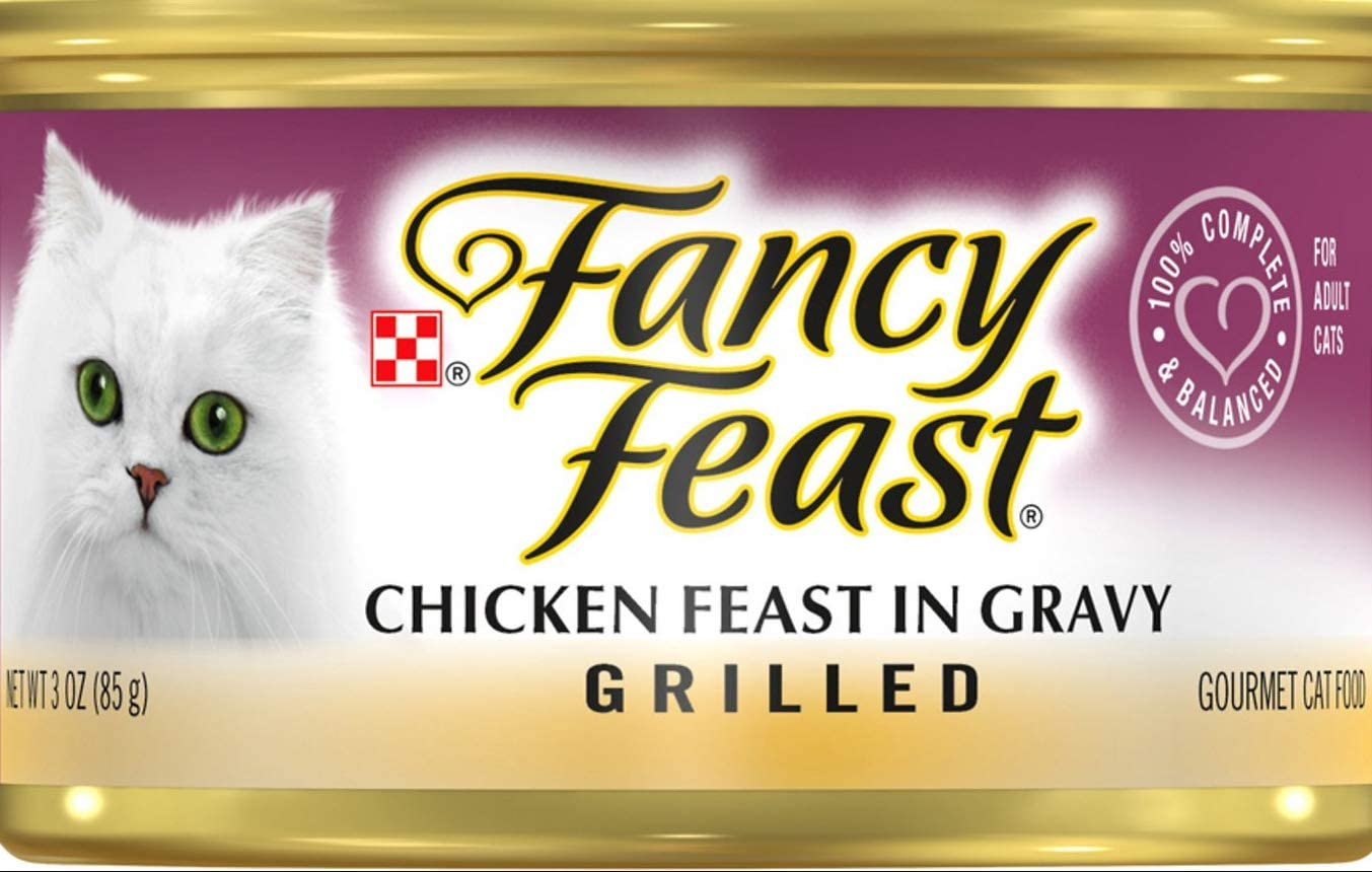Purina 30 Cans of Fancy Feast Grilled Chicken Feast in Gravy Canned Cat Food, 3-oz ea