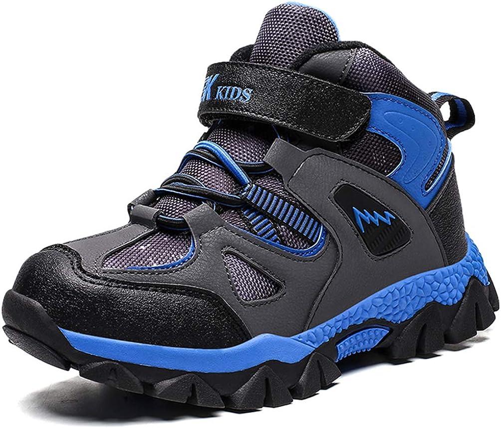 RUMPRA Kids Hiking Shoes Boys Winter Snow Boots Warm Fur Lined Outdoor Sneakers Non-Slip Walking Trail Running Antiskid Steel Buckle Sole