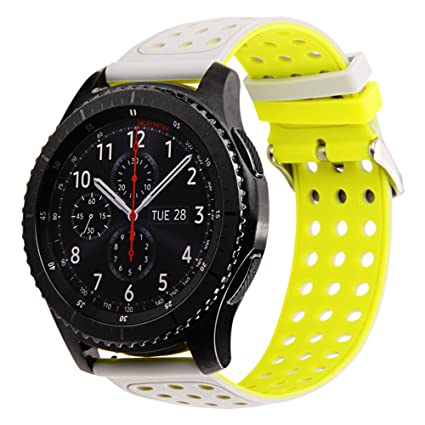 Gear S3 Bands Silicone, Maxjoy S3 Classic Frontier Watch Band Galaxy Watch 46mm Bands 22mm Rubber Large Small Sport Replacement Strap with Metal Clasp ...