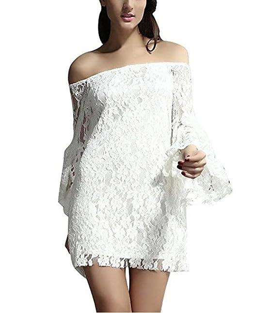 777e23f06838 Amazon.com  Voguard Sexy Women White Floral Lace Off Shoulder Mini ...