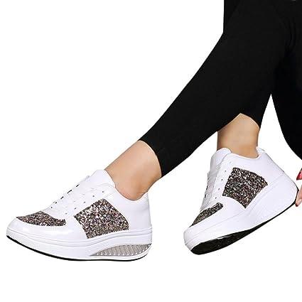 Calzado Chancletas Tacones Zapatos de Sacudir Lentejuelas de Mujeres Zapatillas de Mujer con Cuña Zapatillas de Deporte de Chicas de Moda ❤️ Manadlian