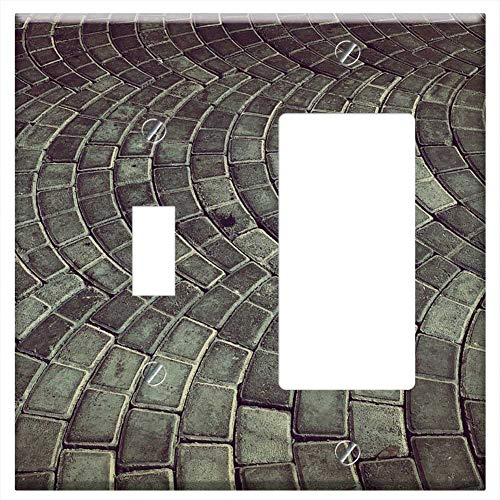 1-Toggle 1-Rocker/GFCI Combination Wall Plate Cover - Brick Road Parking Urban Outdoor Pattern Pave - Pave Pattern