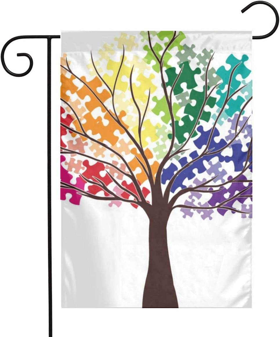 Autism Awareness Garden Flags Home Indoor & Outdoor Welcome Decorations,Waterproof Polyester Yard Decorative for Game Family Party Banner
