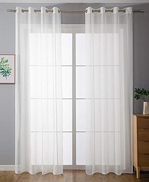 2er-Pack Ösen Gardinen Transparent Vorhang Set Wohnzimmer Voile ...