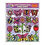 Butterflies and Flowers Spring Gel Clings for Kids & Toddlers - Removable & Reusable Window and Wall Gel Clings for Tons of Fun - Stick to Glass, Fridge, Walls - Home, Travel, Classrooms and More