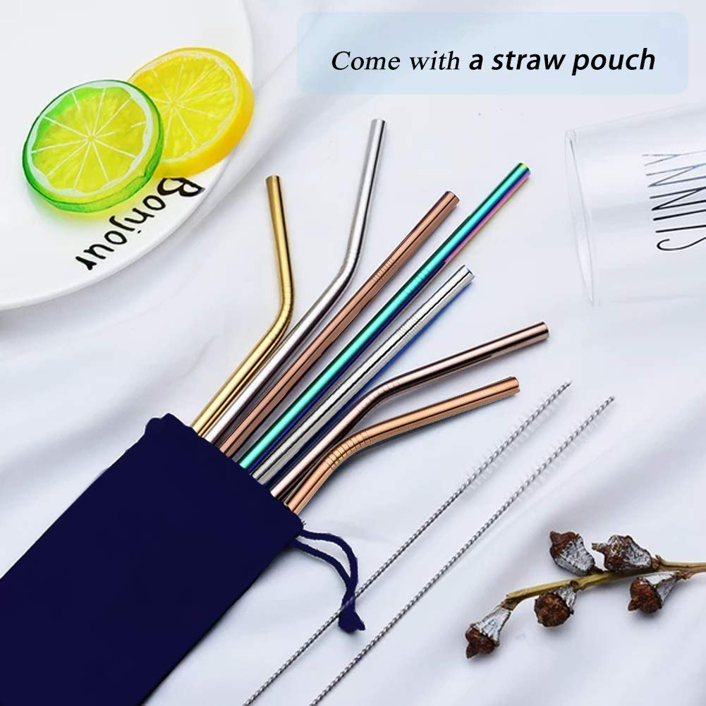 Metal Straws, Colorful Titanium Drinking Straws with Cleaning Brushes for Smoothies, Lemnoade, Cocktails, for 20oz/ 30oz Yeti Tumbler Ozark Trail Ramblers Cups (Titanium) by Billion Xin (Image #7)