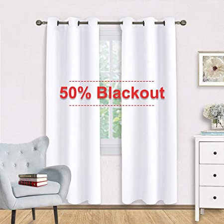 NICETOWN 50 Blackout White Curtain Set – Modern Design Solid Grommet Draperies Drapes for Living Room, Window Dressing for Patio Door 2 Panels, 42 by 72