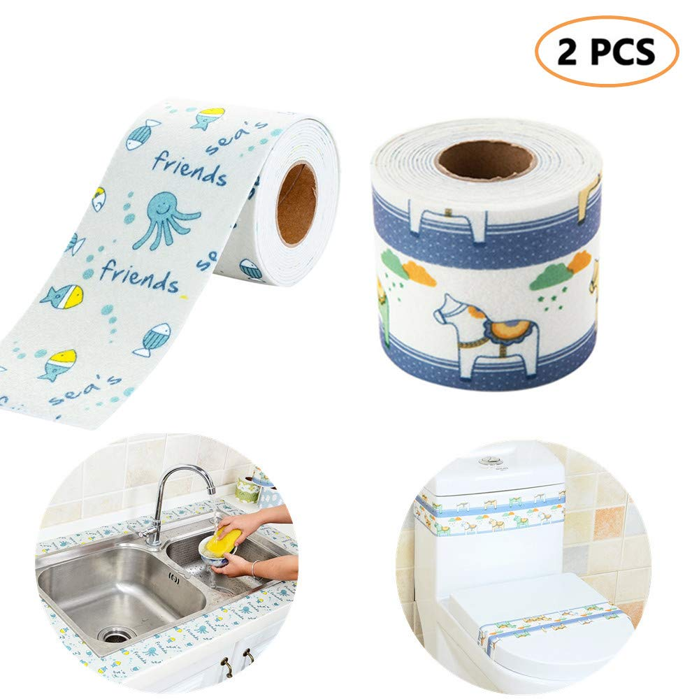 TRRUT 2 Rolls Non-woven Fabric +Polyvinyl Chloride Kitchen Self-adhesivesink Countertop Waterproof Strip, Sink Moisture Stickers for Toilet Bathroom Decorative(3.15 in×110.24 in)