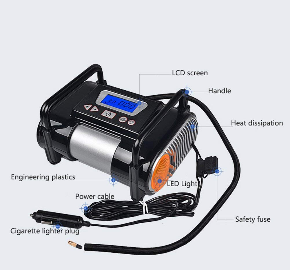 Tire Inflator/Air compressor,12V DC Tire Inflator Electric Portable Auto Air Compressor Pump to for Car,Truck, Bicycle, Basketball by HJJH (Image #3)