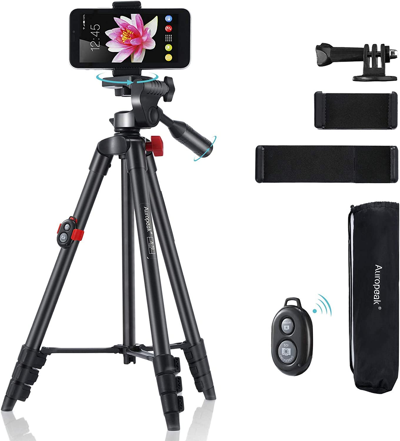 """Phone Tripod,Adjustable Portable 16.4""""-54"""",Cell Phone Tablet Camera Tripod Stand with Carry Bag,Remote Shutter Compatible,3 Phone Universal Holders for Smartphone,Live Streaming,Gopro,Ipad,Aluminum"""