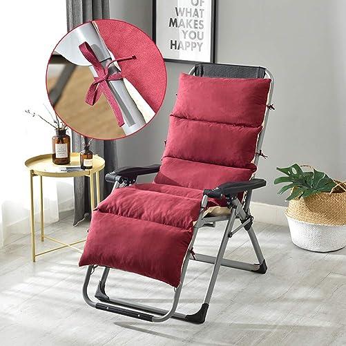 Fordecore Patio Chaise Lounger Cushion, Thickened Chaise Lounge Cushion Recliner Cushions Rocking Chair Cushion Sofa Cushion Tatami Mat Window Mat Seat Cushion – 61 19.7 4.7Inch Wine Red