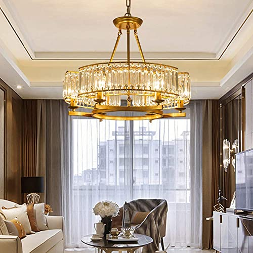 KALRI Modern Round Island Crystal Chandelier 6 Lights Flush Mount Pendant Ceiling Light Fixture for Dining Room Kitchen Living Room W25.2 x H19.7