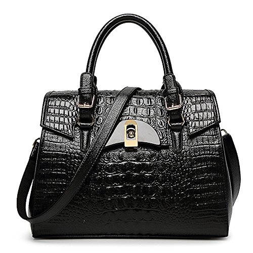 Mn&Sue Luxury Style Embossed Alligator Bright Patent Leather Top Handle Shoulder Working Women Handbag (Black)