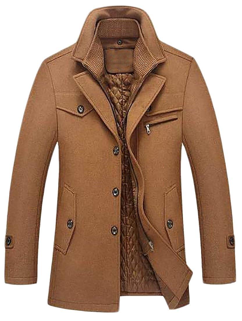 JWK Mens Wool Blend Warm Padded Business Winter Outwear Pea Coat