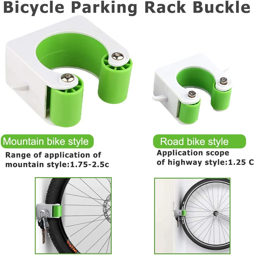 Green DREAMWIN Bike Clip Bicycle Rack Storage Clip Portable Indoor Outdoor Wall-Mounted Parking Storage System with Hanger Hooks to Save Space for Mountain or Road Bike