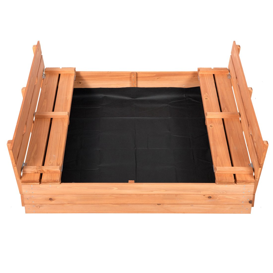 Good Life Outdoor Sandbox with Covered and Bench Seats Kids Play Sand for Sand Box Toys Wood Natural Color 47'' x 47'' Size by Good Life USA (Image #2)