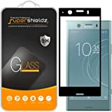 (2 Pack) Supershieldz for Sony (Xperia XZ1 Compact) Tempered Glass Screen Protector, (Full Screen Coverage) Anti Scratch, Bubble Free (Black)
