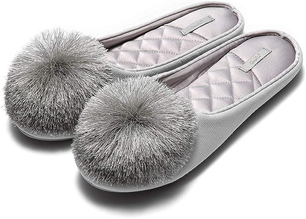 GaraTia Women House Slippers Memory Foam Slip-on Comfort Tassel Pom-Pom Home Shoes