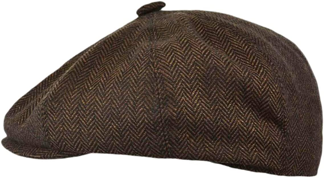 G/&H Brown Herringbone Newsboy Cap