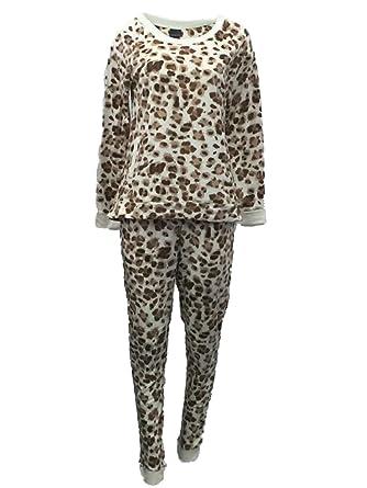 ce55e31da7 Covington Womens Ivory   Brown Fleece Pajamas Leopard Print Sleep Set 2X