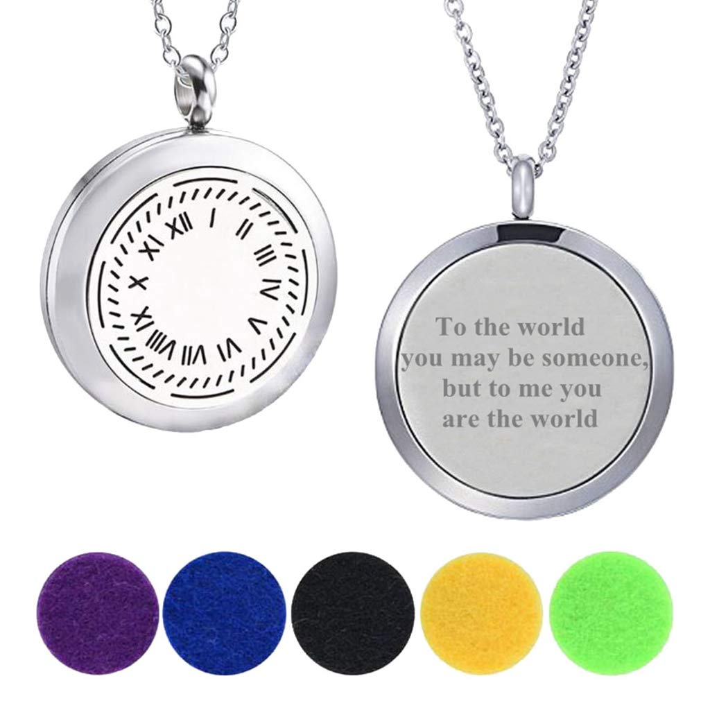 Modogirl Aromatherapy Essential Oil Diffuser Locket Roman Numeral Necklaces Engraved to The Word /¡/