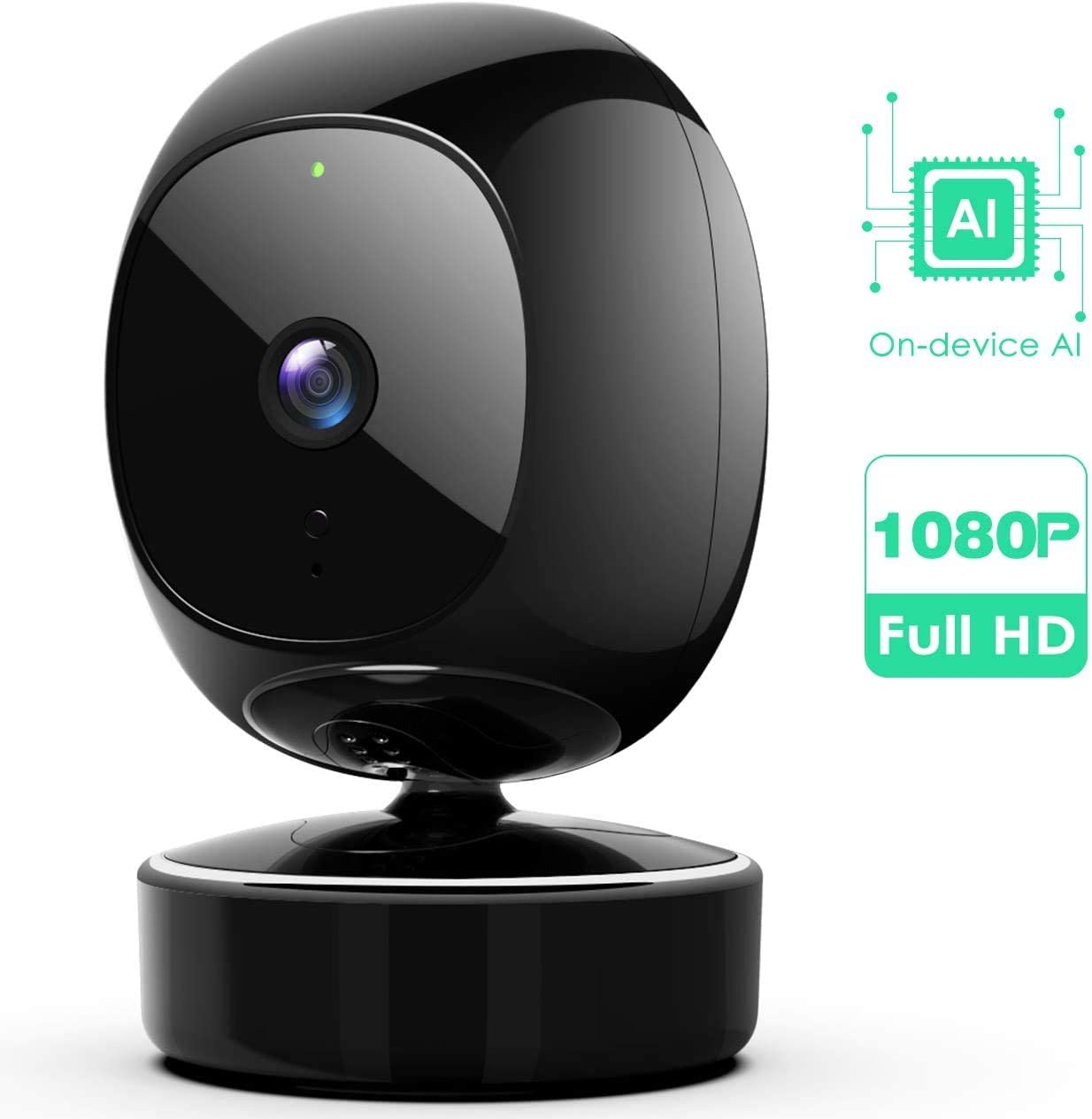 SimCam 1S Home Security Camera AI 7 24 Indoor Security Camera, Facial Recognition, Person Detection Pet Vehicle RECG, 360 Pan Tilt Zoom for Auto-Tracking,No Lag, 2-Way Audio, Works with Alexa