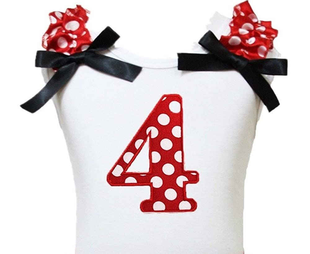 Petitebella Birthday Dress Red Polka Dot 4th White Cotton Shirt Girl Blouse 1-8y SH005