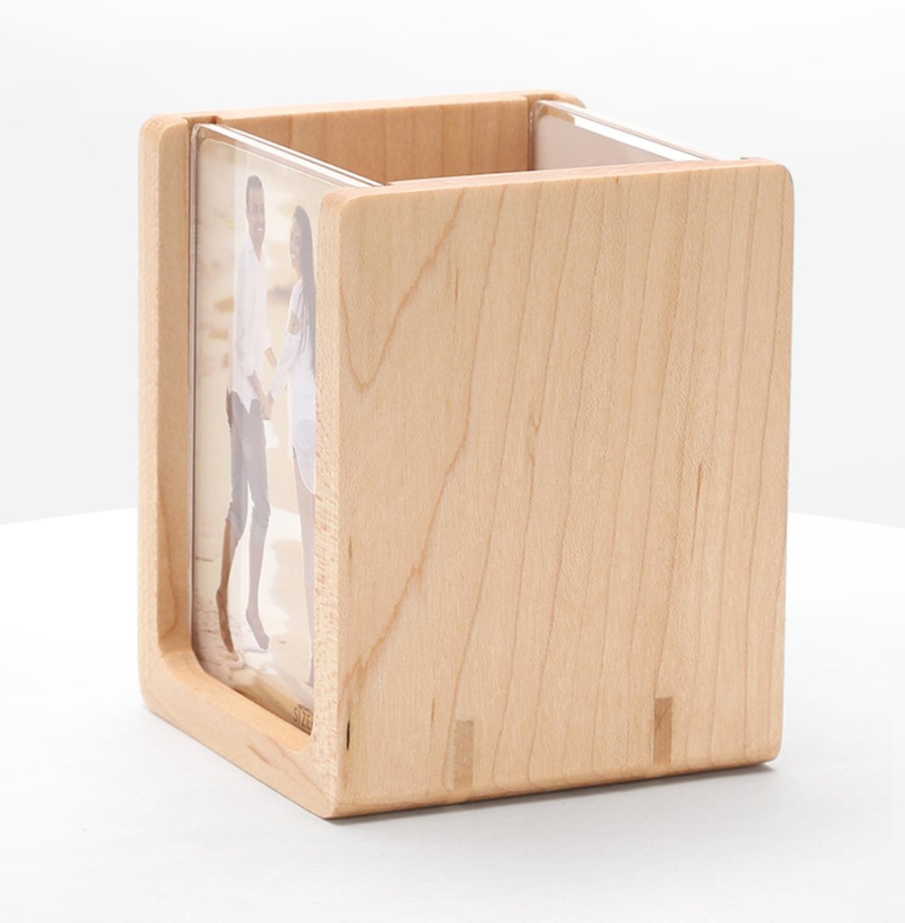 TYJY Solid Wood Desktop Stationery Storage Box Fashion Wooden Photo Frame Pen Cylinders Office Supplies Small Fresh Ornaments