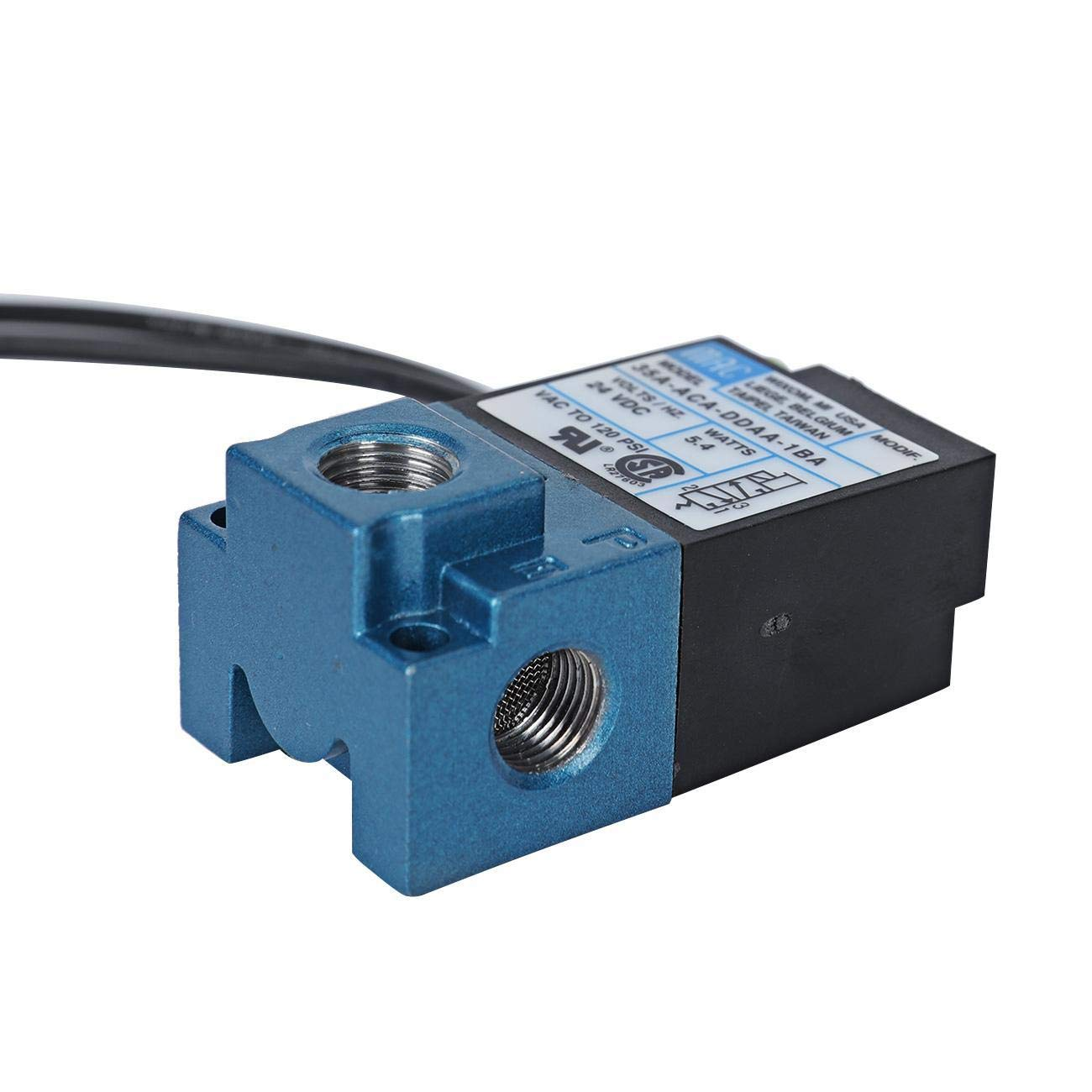 Dyna-Living Solenoid Valve 3 Port 35A-ACA-DDAA-1BA Boost Control Electric Valve High Frequency Valves Fits Marking Machine Dispensing Machine Drip Molding or Plastic Machine