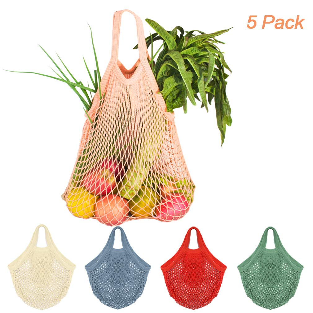 Creatiees Net Shopping Bag, 5Pcs Reusable Mesh Cotton Shopping Tote Handbag, Portable String Bag Organizer for Grocery Shopping/Outdoor Packing/Storage/Fruit/Vegetable(Assorted Colors)