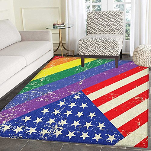 Vintage Rainbow Area Rug Carpet Worn Out Pride Flag and Old