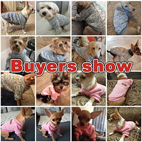 Idepet Pet Dog Classic Knitwear Sweater Fleece Coat Soft Thickening Warm Pup Dogs Shirt Winter Pet Dog Cat Clothes Puppy Customes Clothing for Small Dogs (Read The Size Chart First) 53