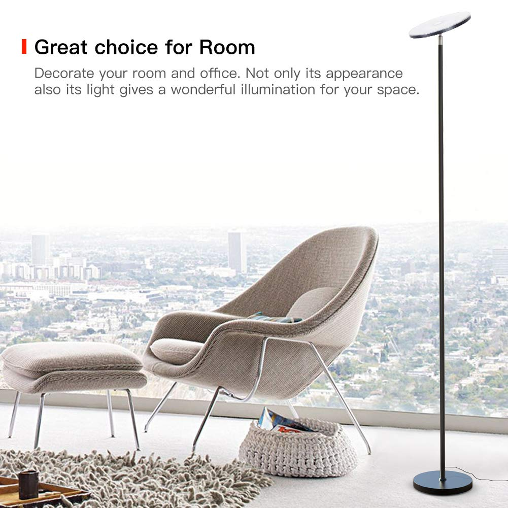 Floor Lamp, LED Torchiere Floor lamp, Tall Standing Uplight Industrial Floor Lamps Stepless Dimmable Modern Pole Floor Light for Living Room Offices Bedroom, TECKIN Daylight Floor Lights Black by T TECKIN (Image #6)