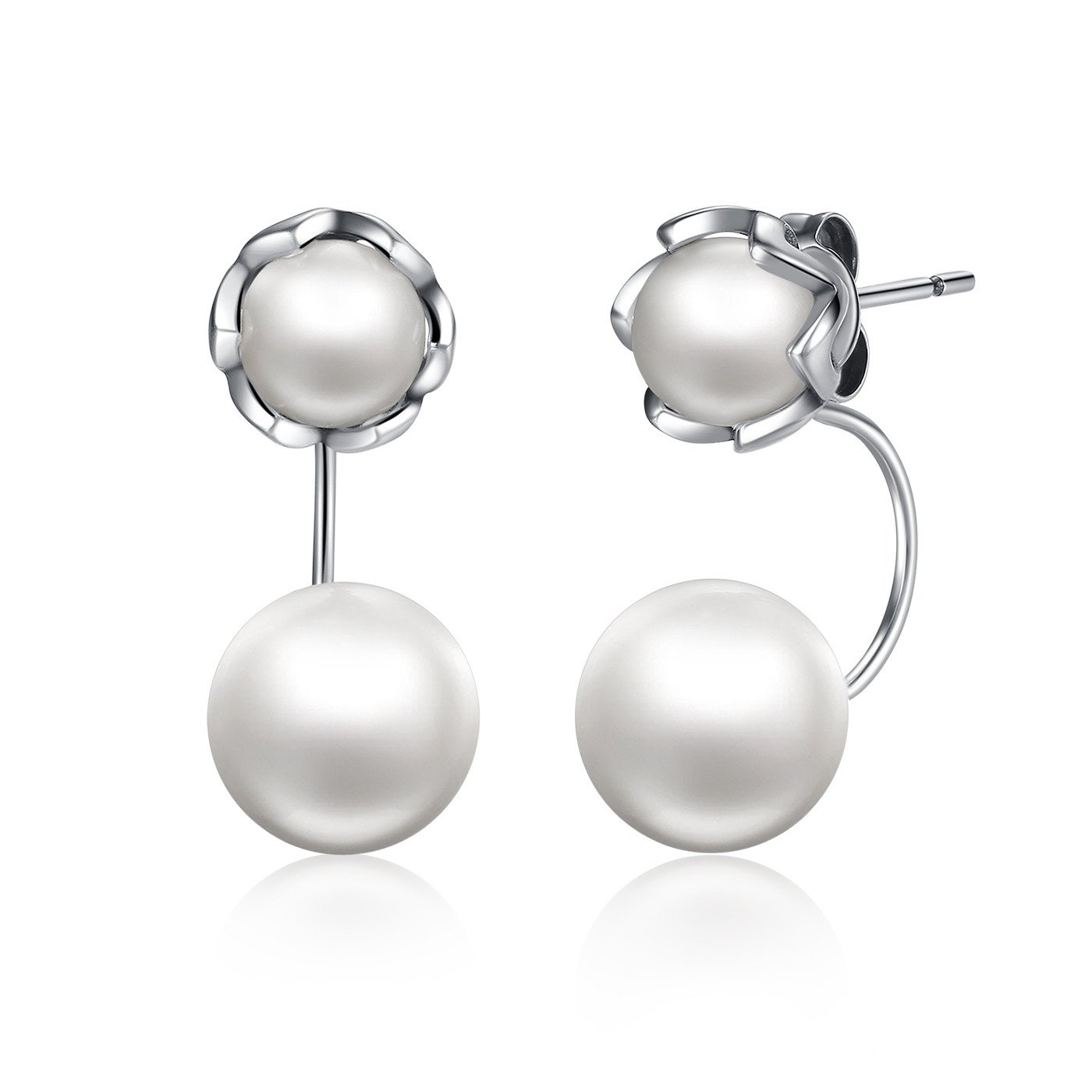 Double Cultured Pearl Earrings 925 Sterling Silver Two Sided Balls Hoop Stud Earrings Fashion Jewelry Gift