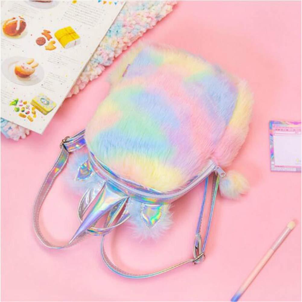 Fanovo Cute Plush Unicorn Backpack, Mini Unicorn Backpack, 3D Unicorn Backpack, Soft Rainbow Backbag Sweet Girls Daughter Gifts 12 inch Bag (Style 2)