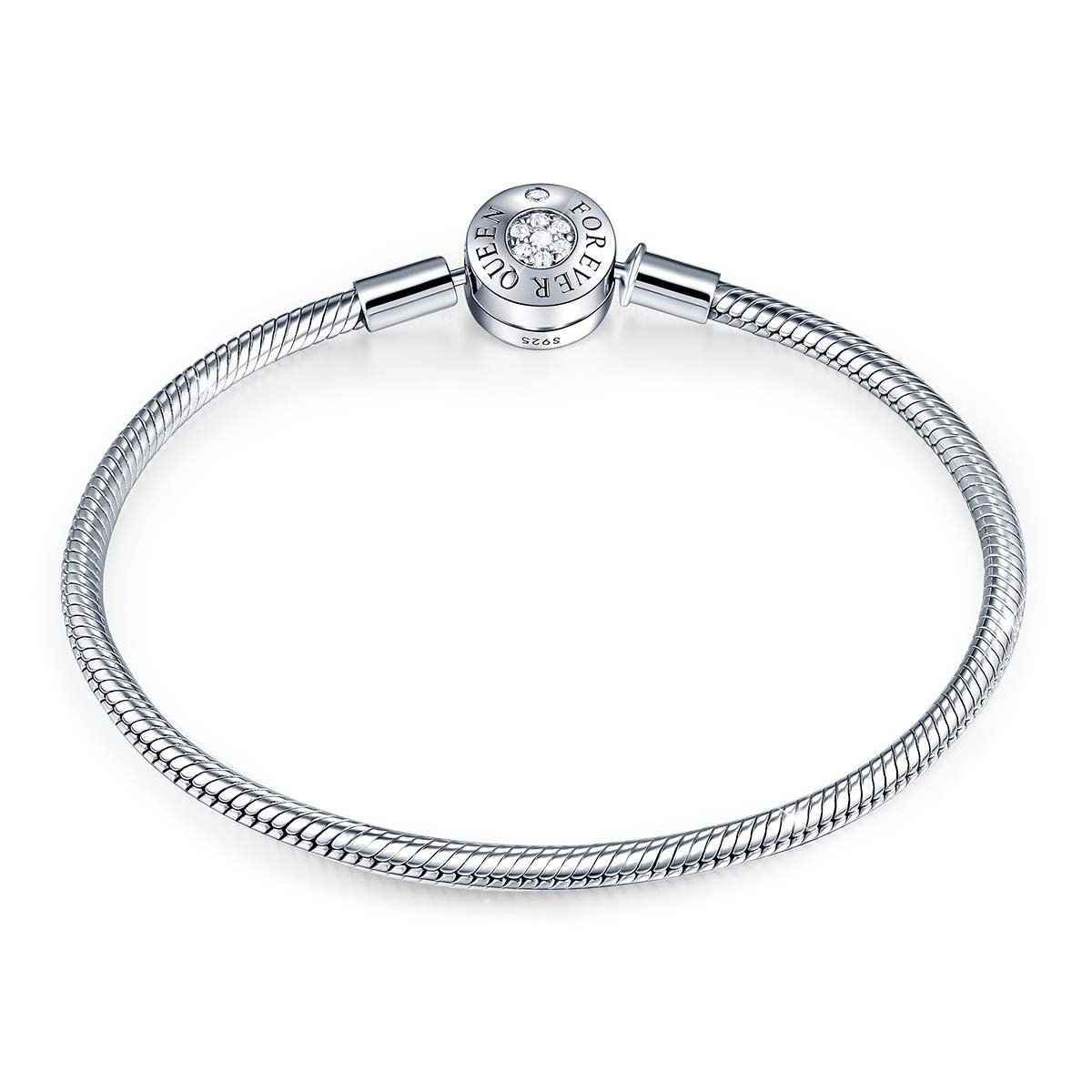 Charm Bracelet Fit Charms 925 Sterling Silver Basic Snake Chain Bracelet for Women Girls, Signature Bracelet with Sparkling Round Clasp Charm Clear CZ FQ00016 (7.5in/19cm (Updated Version))