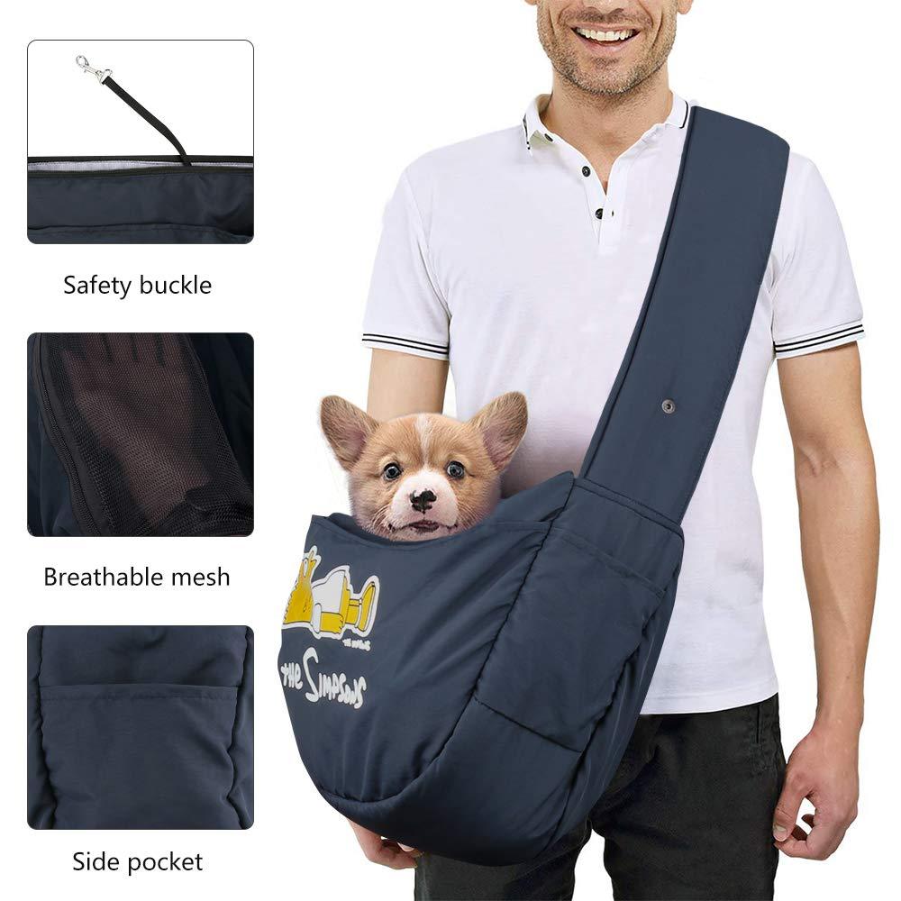 Tracolla Imbottita Regolabile trasportino a Mano Libera per Animali Domestici trasportino per Cani e Gatti 12 kg Zwini con Tasca Frontale