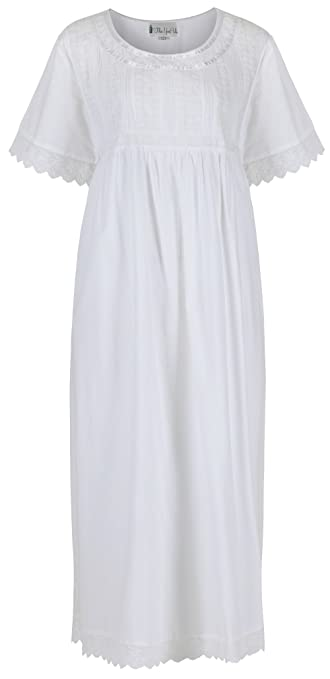 Victorian Nightgowns, Nightdress, Pajamas, Robes The 1 for U Nightgown 100% Cotton + Pockets XS-3XL Helena $39.99 AT vintagedancer.com