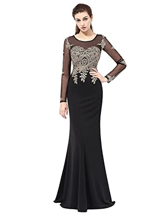 7a43c95110d anmor Women s Mermaid Prom Dress 2018 with Gold Appliques Long Sleeves Evening  Gowns Black US2
