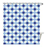 Liguo88 Custom Waterproof Bathroom Shower Curtain Polyester Navy and White Conceptual Cultural Nature Design Arabian Flower Decorations Light Blue White Apricot Decorative bathroom