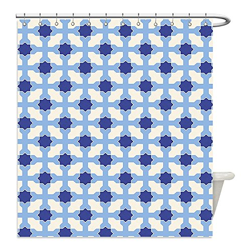 Liguo88 Custom Waterproof Bathroom Shower Curtain Polyester Navy and White Conceptual Cultural Nature Design Arabian Flower Decorations Light Blue White Apricot Decorative bathroom by liguo88