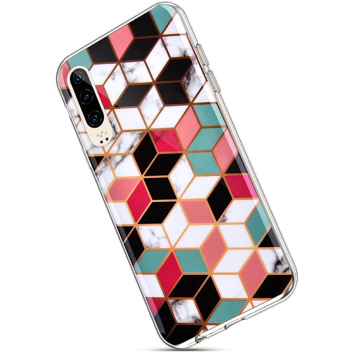 MoreChioce compatible avec Coque Huawei P30,compatible avec Coque Huawei P30 Silicone Marbre,Jolie For/êt Tropicale Hybrid Crystal Flexible Souple TPU Bumper Anti-rayures Defender