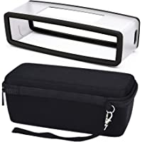 Travel Carrying Case and Silicone Soft Cover designed for protecting Bose Soundlink Mini 1 and 2 Bluetooth Speaker, Bubble Padded Interior for Speaker and Dock - Mesh Pocket to Store Power Adapter – with Wrist Strap, Grey