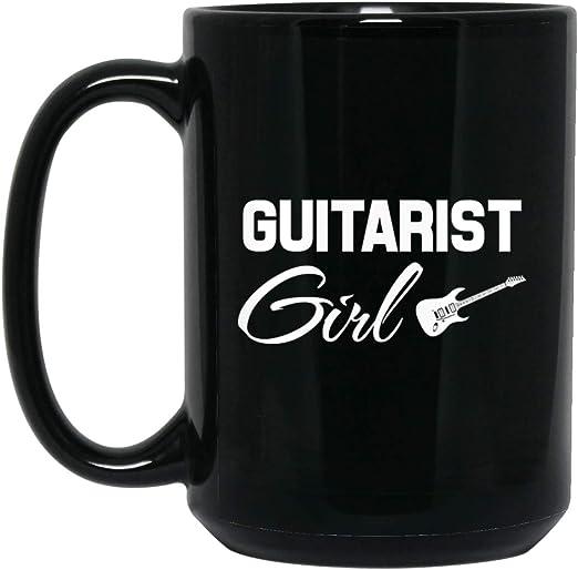 Guitarrista Guitarra Eléctrica Niña Banda Rocker 15 oz. Taza negra ...