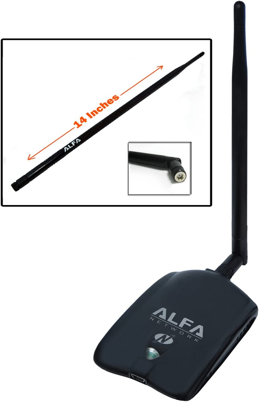 Alfa AWUS036NHA High Gain Wireless B/G/N USB Adaptor - Long-Rang Wi-Fi Network Adapter with 5dBi and 9dBi Antenna for Wardriving & Range Extension - Windows 7, XP/Vista 64-Bit /128-Bit - Atheros