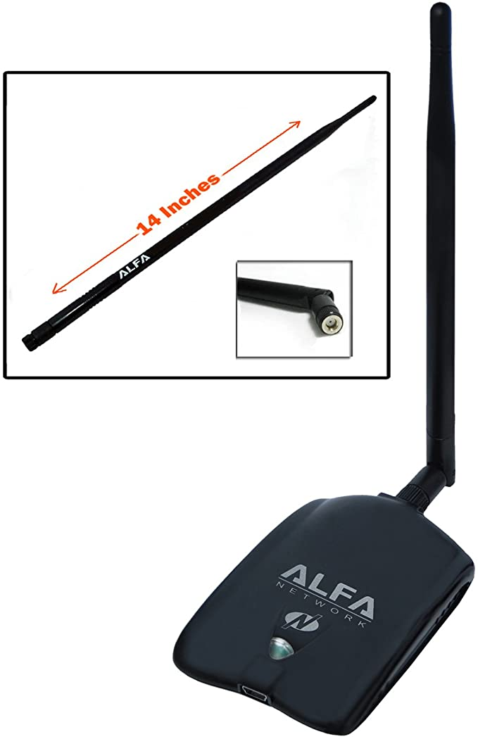 Long-Rang Wi-Fi Network Adapter With 5dBi Windows XP // Vista 64-Bit //128-Bit Windows 7 Compatible Atheros Chipse Alfa AWUS036NHA High Gain Wireless B//G//N USB Adaptor Suction cup Window Mount dock And carrying case for Wardriving /& Range Extension