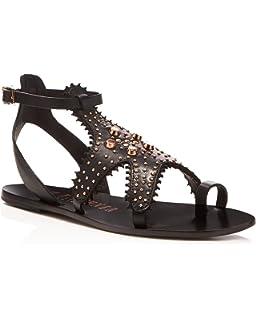 6d4f8b1f86d60a Ivy Kirzhner Starfish Black Leather Rose Gold Embelished Flat Gladiator  Sandals
