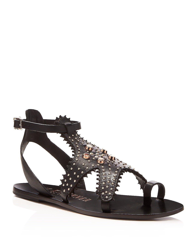 9fab0c11d6cbf Amazon.com   Ivy Kirzhner Starfish Black Leather Rose Gold Embelished Flat  Gladiator Sandals (6.5)   Sandals
