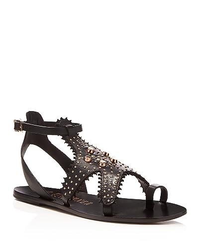 0fdf9bdc7a7 Ivy Kirzhner Starfish Black Leather Rose Gold Embelished Flat Gladiator  Sandals (6.5)