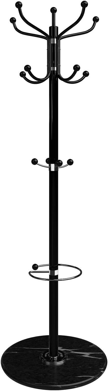 Appendiabiti da Terra Borse Bianca Cappello 8 Ganci in Legno Hall Tree Coat Hat Tree Appendiabiti Appendiabiti Hall Tree Hall Sciarpe ombrelli Vestiti Montaggio Semplice per Cappotto